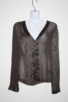 East Woman's Lady's Brown Pure Silk Fashion Designer Patterned Top Size 12 UK
