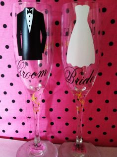 Bride and Groom wedding champagne flutes.