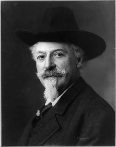 Buffalo Bill Cody - ca 1900.  Born near LeClaire, Iowa, in 1846, he rode on the Pony Express at the age of 14, fought in the American Civil War, served as a scout for the Army, and was already an Old West legend before mounting his famous Wild West show, which traveled the United States and Europe.