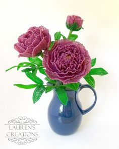 French Beaded Peonies - by Lauren Harpster of Lauren's Creations