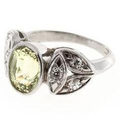 Natural Oval Chrysoberyl Diamond Platinum Ring