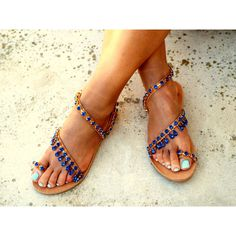 Luxury navy blue rhinestone sandals, Chic Sandals, Greek Sandals,... (€140) via Polyvore featuring shoes and sandals