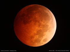 """The spectacular """"blood moon"""" total lunar eclipse of Oct. 8, 2014 is captured by photographer John W. Johnson of the Omaha Astronomical Society in Nebraska in the United States."""