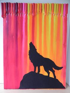 The Last Call, Howling Wolf, Sunset Canvas, Melted Crayon Art, Wall Hanging