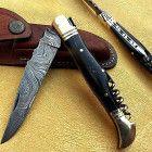 laguiole Damascus Pocket Folding Knife for Best Price Damascus Knife, Damascus Steel, Global Knife Set, Damascus Kitchen Knives, Vintage Pocket Knives, Stone Molds, Hobbies For Men, Concrete Stone, Knives And Swords