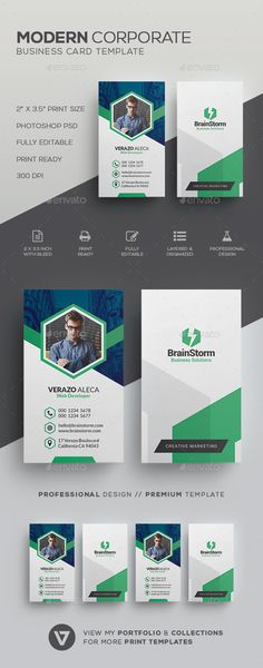 #Clean Modern #Business Card Template - Corporate Business Cards