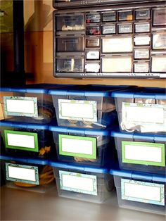 Transparente und beschriftete Boxen schaffen Ordnung | http://1.bp.blogspot.com