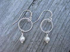 Freshwater Pearl Dangle Earrings Sterling Silver by ESDesigns14