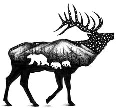 The Elk Sticker The Elk Sticker <br> These elk stickers are beautifully illustrated in black and white. An elk decal that is waterproof for cars. There are bears within the sticker and woods. Sticker of an elk in the wilderness. Bear Paw Tattoos, Moose Tattoo, Elk Silhouette, Animal Silhouette, Elk Drawing, Collage Tattoo, Bear Paws, Wildlife Art, Nature Animals