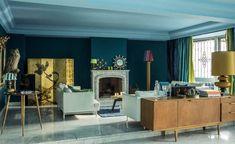 Le salon bleu canard en décoration Eclectic Design, Interior Design, Interior Ideas, Living Room Designs, Living Room Decor, Living Rooms, Teal Walls, Elle Decor, Luxury Furniture