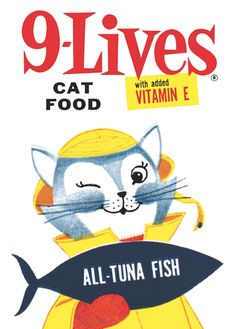 Cool retro Cat Food Label. Love the Typography for the product name. 9Lives