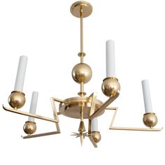 1stdibs - Fabulous Swedish Art Deco 5-arm Chandelier In Polished Brass. explore items from 1,700  global dealers at 1stdibs.com