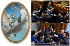 Several of the paintings in #JamesGuppy's current exhibition depict men in suits quarrelling, a subject that was partially inspired by the brawl in the Ukrainian Parliament in 2014 (pictured top right). It appears the trend continues, today the NYTimes reported on a similar skirmish in the Japanese Parliament (pictured bottom right). You can see Guppy's timely work here at the Gallery until Saturday 26 September.