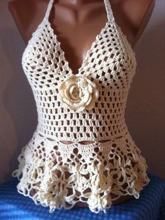 White Halter Top White Crochet LACE UP Top Festival Wear