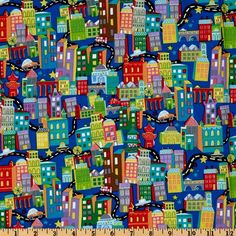 What A World Buildings Blue. Jill McDonald for P & B Textiles