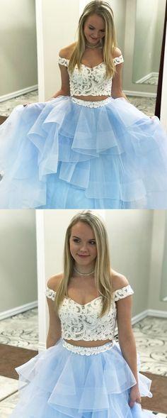 princess two piece long prom dress, white and sky blue prom dress, 2018 prom dress, off the shoulder prom dress, sweet 16 dress #longpromdresses
