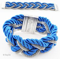 Braided bracelet of metal and silk cord ± 20cmx32mm (innersize ± 18cm), with magnetic clasp (warning: not to be worn by people with a pacemaker)