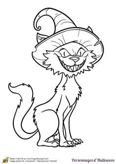 A colorier, le chat diabolique de la sorcière