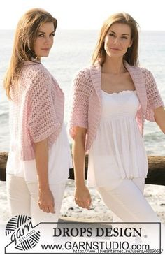 """Ravelry: Bolero with lace pattern in """"Cotton Viscose"""" and """"Kid-Silk"""" pattern by DROPS design Perfect for Florida nights Bolero Sweater, Knit Shrug, Knit Vest, Crochet Cardigan, Knit Crochet, Crochet Hats, Lace Shrug, Crochet Sweaters, Bolero Pattern"""