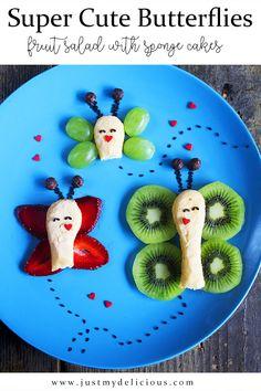 Motyle z Biszkoptów i Owoców - Just My Delicious Salads For Kids, Fruits For Kids, Kids Fruit, Cute Butterfly, Strawberry Jam, Sponge Cake, Cute Food, Fruit Salad, Food Art