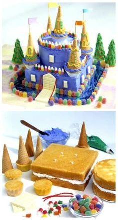 Schloss Kuchen Tutorial Schloss Kuchen Castle Birthday Cake - Blue Candy castle cake for several kids with September birthdays at a local shelter cinderella castle cake Beautiful Cakes, Amazing Cakes, Castle Birthday Cakes, Princess Birthday Cakes, Kale Pasta, Partys, Cute Cakes, Creative Cakes, Celebration Cakes