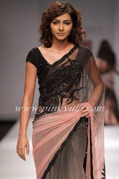black and pink shaded saree   wedding     party  maids           style      -have's    asain Peach Saree, Pink Saree, Grey Saree, Black Saree Designs, Saree Blouse Designs, Indian Clothes, Desi Clothes, Indian Dresses, Desiner Sarees