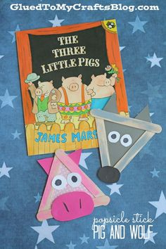 Popsicle Stick Three Little Pigs and Wolf. Fun kid's craft!