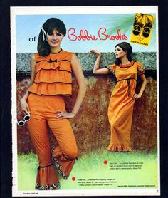 Retro Fashion 1966 Print Ad Bobbie Brooks - Man, we were groovy in the Pants crop top sleeveless bell bows ruffles orange outfit pantsuit fashion style color photo print ad models - 60s And 70s Fashion, 60 Fashion, Retro Fashion, Fashion Models, Vintage Fashion, Fashion Bags, Seventies Fashion, 1960s Outfits, Vintage Outfits