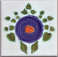 Art Nouveau Mackintosh Rose Style Tiles Plaque Fireplace Bathroom Splashback