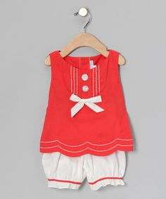Take a look at this Orange Scallop Bow Tank & Bloomers - Infant & Toddler by Fantaisie Kids on #zulily today!