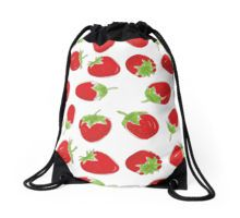 strawberries on white background Drawstring Bag