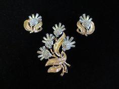 Crown Trifari Floral Set  Brooch and Earrings by TimeWarpTrends