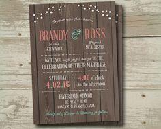 Rustic Wood Wedding Invitation Invitations Invite Invites by SAEdesignstudio