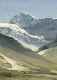 "2012, Winter Peak by Joseph Alleman Watercolor ~ 10"" x 7"""