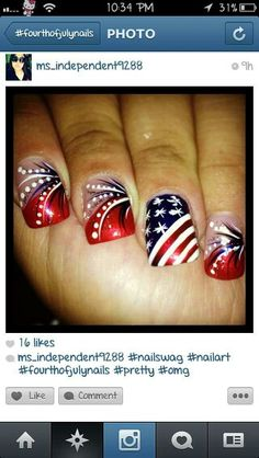 16 Nail Designs For July – Celebrate Holiday with Best Simple Home Manicure - Pepino Top Nail Art Design - Celebrity Nail Art Designs - # Fabulous Nails, Gorgeous Nails, Pretty Nails, Holiday Nail Designs, Holiday Nail Art, Fingernail Designs, Toe Nail Designs, Nail Swag, Fancy Nails
