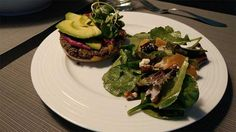 Black bean and quinoa burger with beet pesto sauce topped with avacado and broccoli sprouts. Peach dressing for the salad. Full bellies and healthy cells! Broccoli Sprouts, Quinoa Burgers, Pesto Sauce, Sunday Funday, Beets, Avocado Toast, Champion, Peach, Dinner