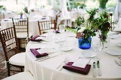 White, Purple and Blue table setting via The Wedding Chicks