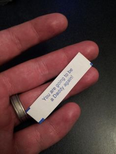 A woman baked this fortune cookie for her husband (with a message letting him know she had a little surprise!) and snuck it into his Chinese takeout - Love pregnancy announcements