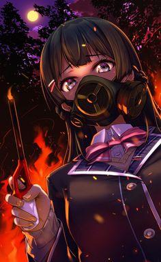 More at Mike Vands 😈 Anime Gas Mask, Gas Mask Girl, Cute Kawaii Girl, Manga Girl, Anime Girls, Mecha Anime, Kawaii Anime, Cute Art, Anime Characters