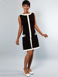 Mademoiselle Yeye Louise Retro Mod Dress in Black/White 60s And 70s Fashion, Retro Fashion, Vintage Fashion, Fashion Glamour, Fashion Black, Mod Dress, Retro Dress, Vintage Dresses 1960s, Vintage Outfits