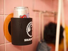 The shower koozie. the perfect solution to the pesky problem of finding a place for your shower beer.
