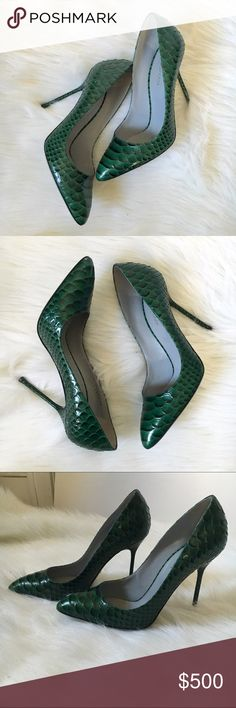 """Snakeskin Heels I hate, hate, HATE to see these go, but they are just collecting dust. These beauties are genuine snakeskin (there is variability in the color b/c of this) Sergio Rossi heels measuring 4"""" in height. They have never been worn and in excellent condition. They do have minor imperfections which are pictured (minor toe scuff and some scales look sluffed, slight yellowing in toe area on inside. Made in Italy. Run small. I'm typically an 8.5/9 in heels and these were tight. Sergio…"""
