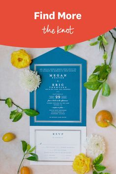 This blue wedding stationery was featured in a real wedding album on The Knot. See more of the citrus-inspired wedding in Florida on The Knot. Personalize your wedding and put a spin on tradition with The Knot's customizable wedding websites, wedding invitations, registry (and more!). Not sure where to start? Get ideas and advice from our editors on everything from wedding colors and venue types to all things guest.