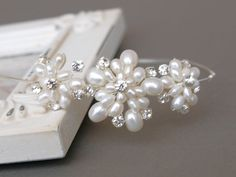 Vintage Floral Pearl Side Tiara, handmade with white freshwater pearls and rhinestones. Handmade to order.