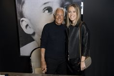 Mr. Armani and Ksenia Sobchak during the book signing at the Giorgio Armani boutique in Tretyakovsky Proezd