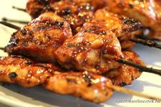 Chicken On A Stick, Chicken Wings, Meat Recipes, Recipies, Skewers, Kebabs, Food 52, Tandoori Chicken, Bacon