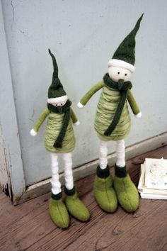 winter yarn and felt characters with long legs