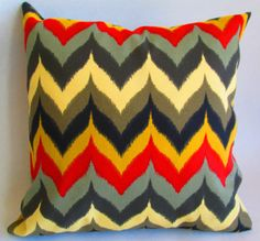 Designer Chevron Flame Ikat Decorative throw pillow by LivePlush
