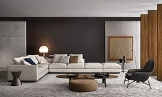 """The manufacturer MINOTTI is proof of Italian quality, combining perfectionism, tradition and modern technology. The taste and vision of Rodolfo Dordoni make MINOTTI products the best examples of """"Made in Italy. Home Living Room, Interior Design Living Room, Living Room Designs, Living Room Decor, Living Spaces, Interior Livingroom, Appartement Design, Family Room Design, Living Room Inspiration"""