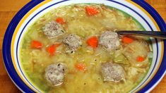 Chicken Rice Soup with Greek Meatballs